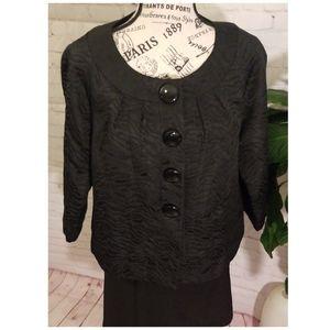 Michael Kors Linen Black Blazer Jacket 3/4 Sleeve.